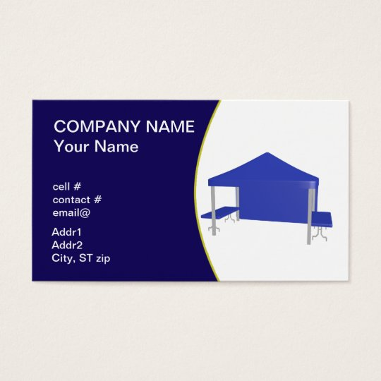 Blue trade show tent business card