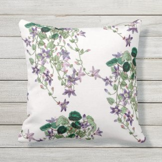 Blue Trailing Flowers Outdoor Throw Pillow 16x16