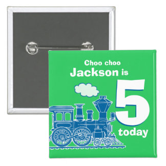 Blue train birthday name and age 5 green badge pinback button