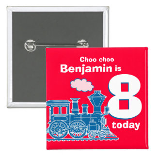 Blue train birthday name and age red badge button