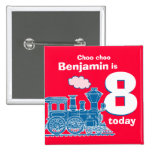Blue train birthday name and age red badge pin