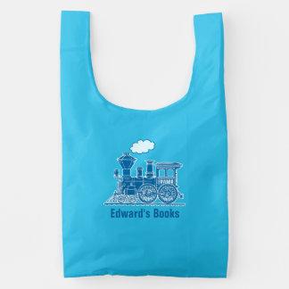 Blue train customized name boys book bag reusable bag