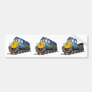 Blue Train Engine Cartoon Bumper Sticker