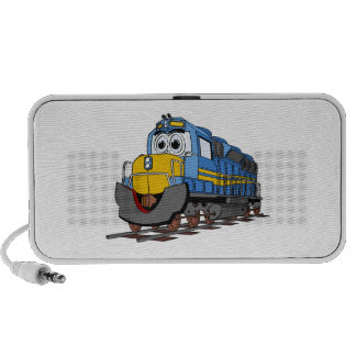 Blue Train Engine Cartoon Notebook Speakers