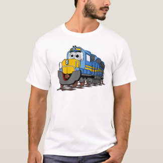 Blue Train Engine Cartoon T-Shirt
