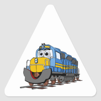 Blue Train Engine Cartoon Triangle Sticker