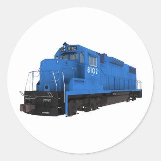 Blue Train Engine: Classic Round Sticker