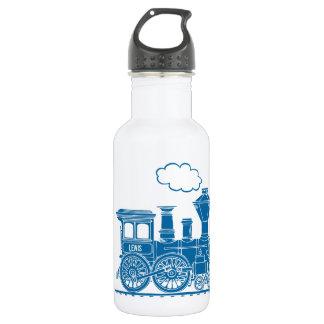 Blue train kids name white drinks bottle
