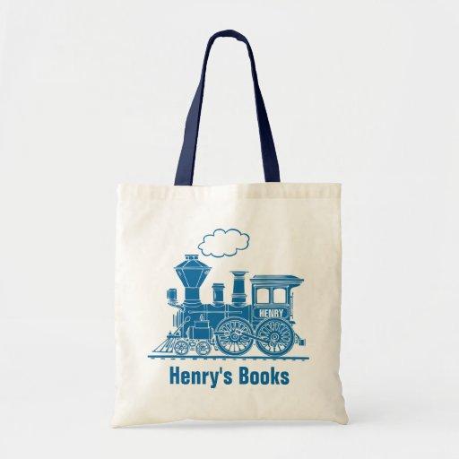 Blue train kids named id library tote bag