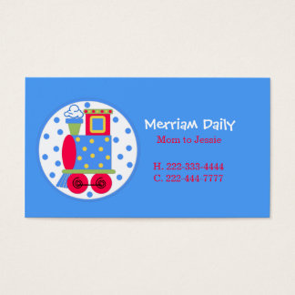 Blue Train Mommy Play Date Card