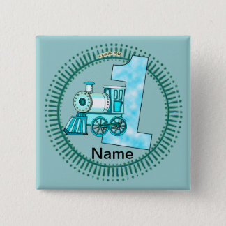 Blue Train Number 1 Pinback Button
