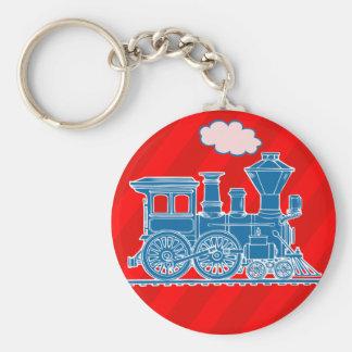 Blue train on red boys keychain