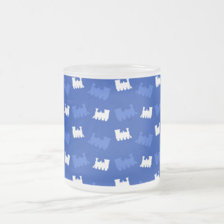 Blue train pattern mug