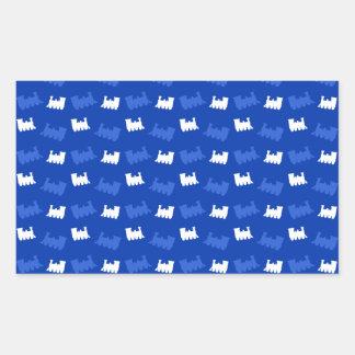 Blue train pattern rectangle stickers