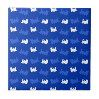 Blue train pattern tiles