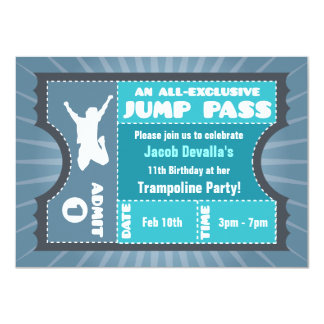 "Blue Trampoline Jump Pass Invitation 4.5"" X 6.25"" Invitation Card"