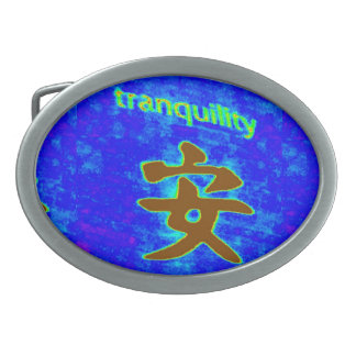 blue tranquility buckle oval belt buckle