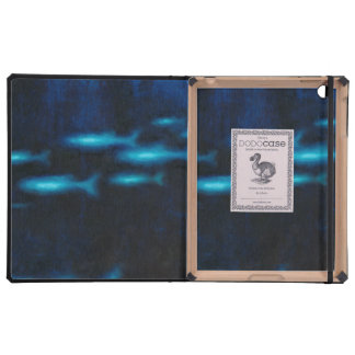 Blue Translucent Fish Silhouettes Cover For iPad