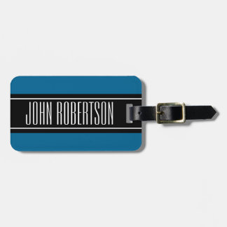 Blue travel luggage tag with custom name monogram