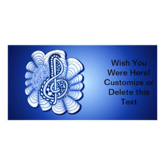 Blue Treble Clef Music Art Custom Photo Card