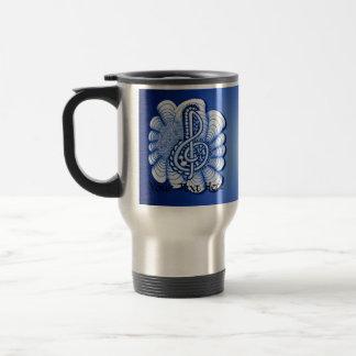 Blue Treble Clef Music Design Coffee Mug