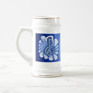 Blue Treble Clef Music Design 18 Oz Beer Stein