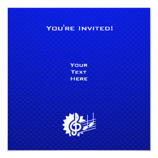 Blue Treble Clef; Music Notes 5.25x5.25 Square Paper Invitation Card