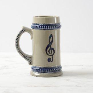 Blue Treble Clef Stein mug