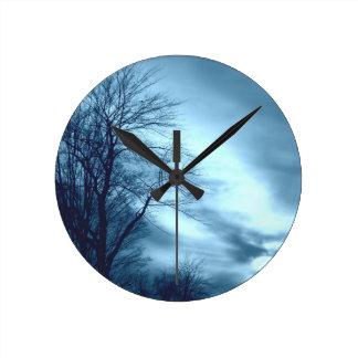 Blue Tree and sky Round Clock