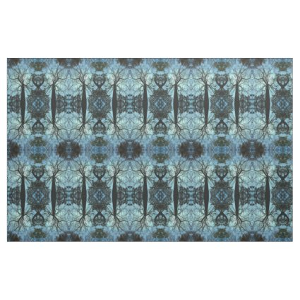Blue Tree Branch Abstract Fabric