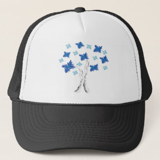 Blue Tree Burst Trucker Hat