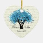 Blue Tree Dancing Blooms Wedding Photo Ornament