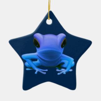 Blue Tree Frog Ceramic Ornament