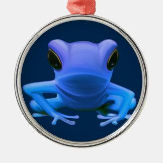 Blue Tree Frog Metal Ornament