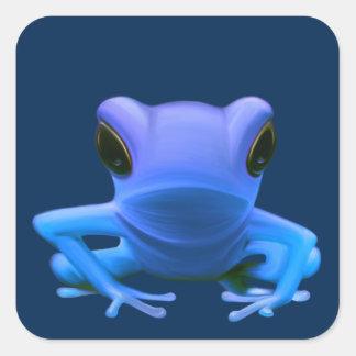 Blue Tree Frog Square Sticker