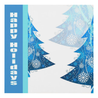 Blue Tree Holiday Party 8x8 Matte Wall Panel
