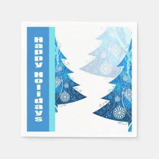 Blue Tree Holiday Party Cocktail Napkin