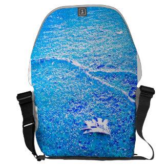Blue Tree leaf on ground. Messenger Bag