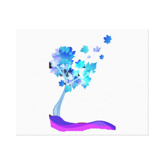 blue tree leaves blowing earth design.png canvas print