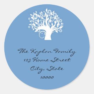 Blue Tree Life Envelope Seal Round Sticker