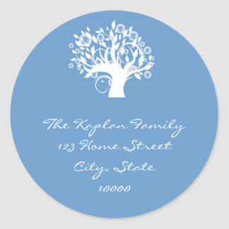 Blue Tree Life Envelope Seal Stickers