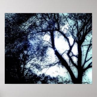 Blue Tree modern art poster