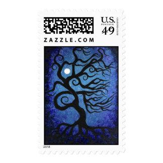 Blue tree-moon postage