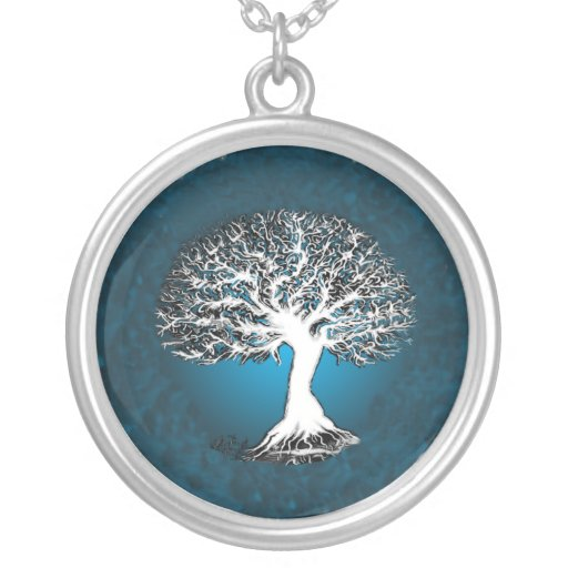 Blue Tree of Life Pendant Necklace Jewelry