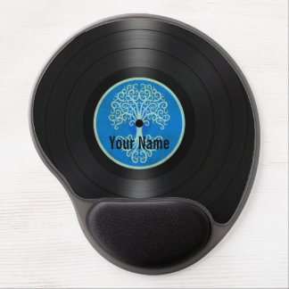 Blue Tree of Life Personalized Vinyl Record Gel Mouse Pad