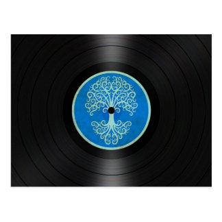 Blue Tree of Life Vinyl Record Album Graphic Postcard