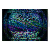 Blue Tree of Life with Shades of Green Card (<em>$3.15</em>)