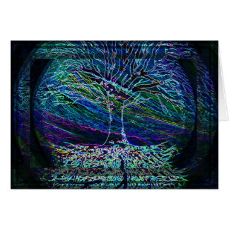 Blue Tree of Life with Shades of Green Card