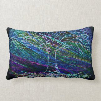 Blue Tree of Life with Shades of Green Lumbar Pillow