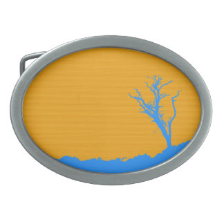 Blue Tree over Yellow Painting Abstract Art Belt Buckle